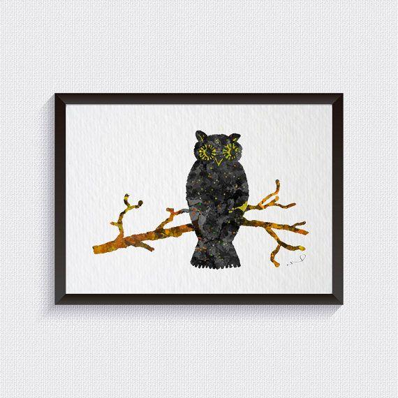 Hibou peinture hibou Art Print bois animaux par ArtistiCorner