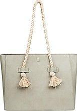 женская сумка, прямоугольная, с двумя ручками, серо-бежевая