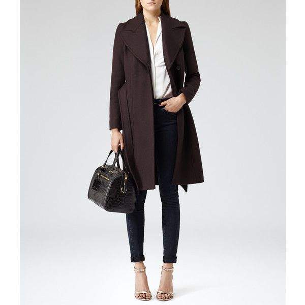 Reiss Envy Belted Tailored Coat ($289) ❤ liked on Polyvore featuring outerwear, coats, reiss, belted coats, tailored coat, burgundy coat and reiss coats