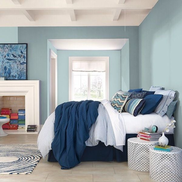 Drift into dreamland with cool blue Watery (SW 6478) walls. #water #bedroom #