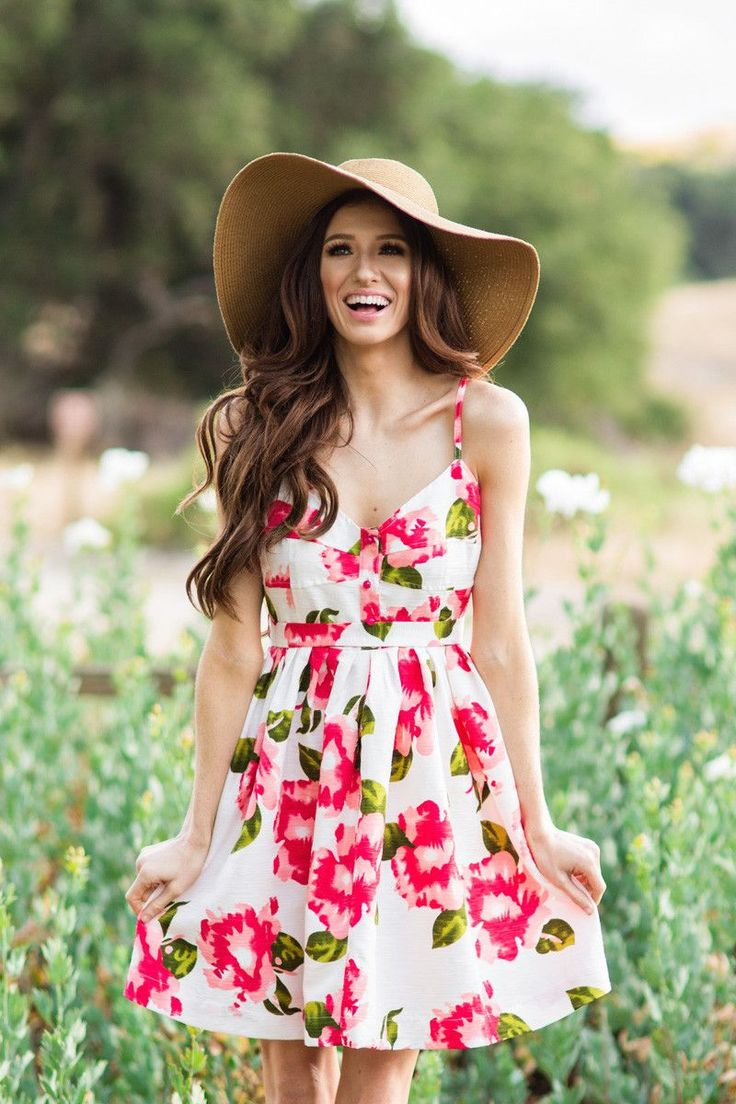 Pink Floral Sundresses, Fit and Flare Dresses for Women, Spring and Summer Outfit Ideas, Wine Tasting Outfit Ideas