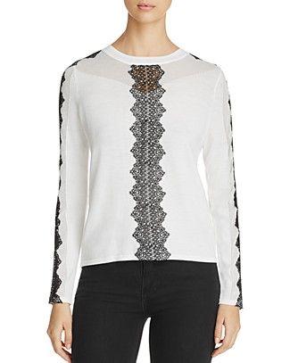 Elie Tahari Maxima Lace Detail Sweater