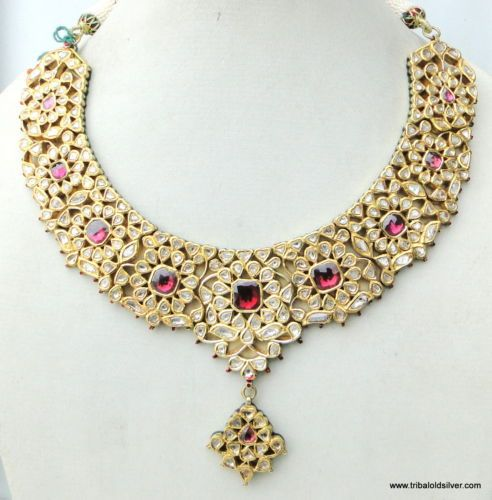VINTAGE-ANTIQUE-20K-GOLD-DIAMOND-POLKI-KUNDAN-ENAMEL-MEENAKARI-WORK-NECKLACE-IND