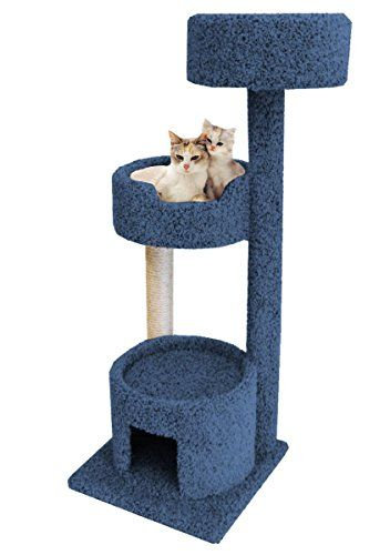 Carpet Cat Climbing Tower 52 inch Large Kitty Condo in Blue with 2 Beds