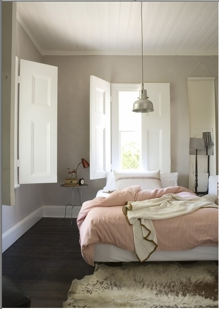 love the focal point ~ a great light! shutters are fab too!: Wall Colors, Window Shutters, Idea, Grey Wall, Interiors Shutters, Bedrooms, House, Indoor Shutters, Gray Wall