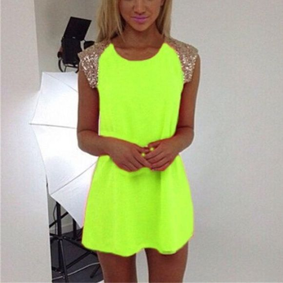 Neon dress Cute light weight sequin neon color dress new with tag Dresses Midi