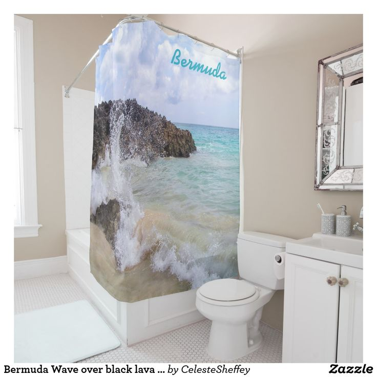 Bermuda Wave over black lava rocks Shower Curtain by Khoncepts