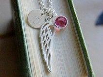 Personalny, srebrny naszyjnik-swarovski,skrzydło i inicjał. http://pl.dawanda.com/product/66477079-Personalny-srebrny-naszyjnik-swarovskiskrzydlo
