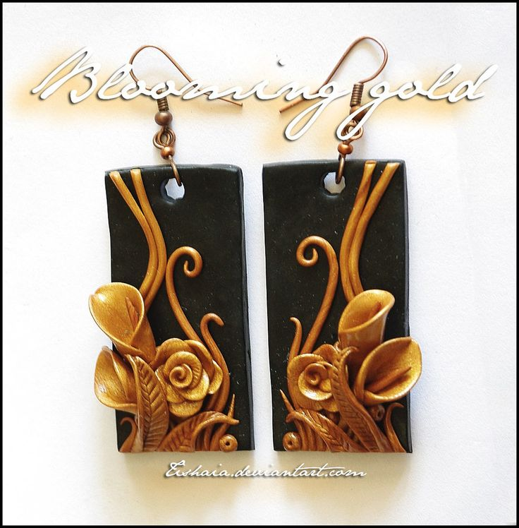 Blooming gold by ~tishaia | CRAFTS | Pinterest | Polymer clay, Clay and Polymer clay earrings