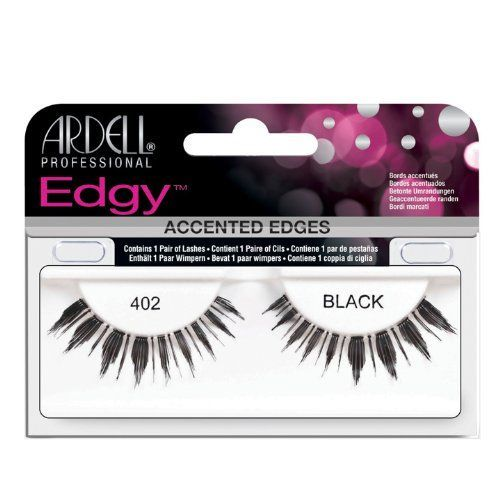 Ardell 402 Edgy Lashes, Black. Lightweight. Easy to apply. Comfortable. Accented edges. Contains 1 pair of lashes.