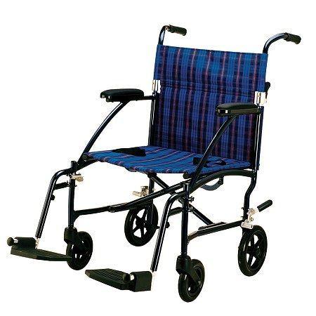 Drive Medical Fly-Lite Aluminum Transport Chair Blue Plaid