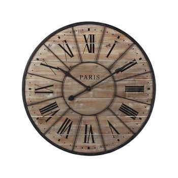 Horloge en bois et métal D 90 cm VALMY