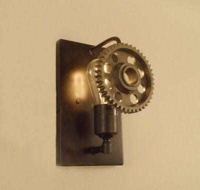 Steampunk Mounted Machine Gear Sconce Conant Products