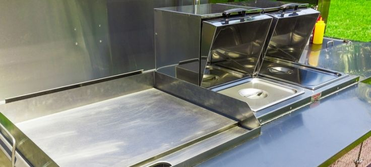 "The Daytona DreamMaker Mobile Food Cart comes standard with a Double Steam Table and 24"" Flat Top Griddle. Other appliances can be added or substituted as well."