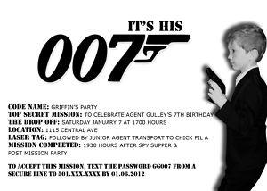 007 James Bond Spy birthday party invitations! You print.