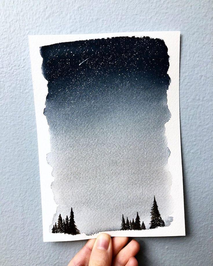 Aquarell Landschaftsmalerei   Malerei des Nachthimmels   optionales individuelles angebot   Waldmalerei