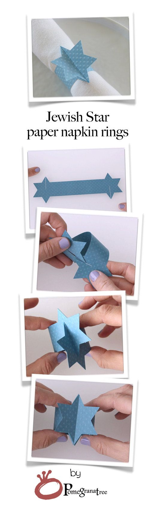 Jewish Star Paper Napkin Ring, Magen David, Bar Mitzvah Table Decor, Hanukah Table Decor, Jewish Holiday Decor, Set of 10, Royal Blue MD19 These Jewish Star shaped napkin rings are cut out of premium paper. These napkin rings are a beautiful added touch for your special occasion and perfect for decorating any holiday table. Napkin rings are sold in sets of TEN. Napkin rings are shipped flat. Easy assembly - no glue or tape needed! Size: Flat: 7.1 / 18cm Assembled ring: approximately 1.75 ...