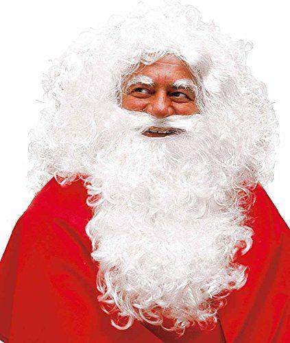 MW Deluxe Perruque, barbe et des sourcils de Père Noël (Santa Claus) Homme: Classique Perruque, barbe et des sourcils de Père Noël lavable…
