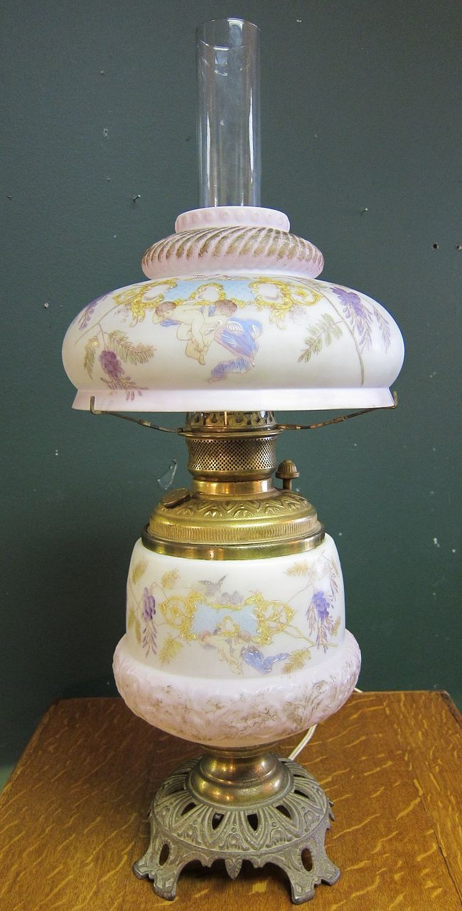 Victorian Oil Lamp Convert To Electric  Cherubs