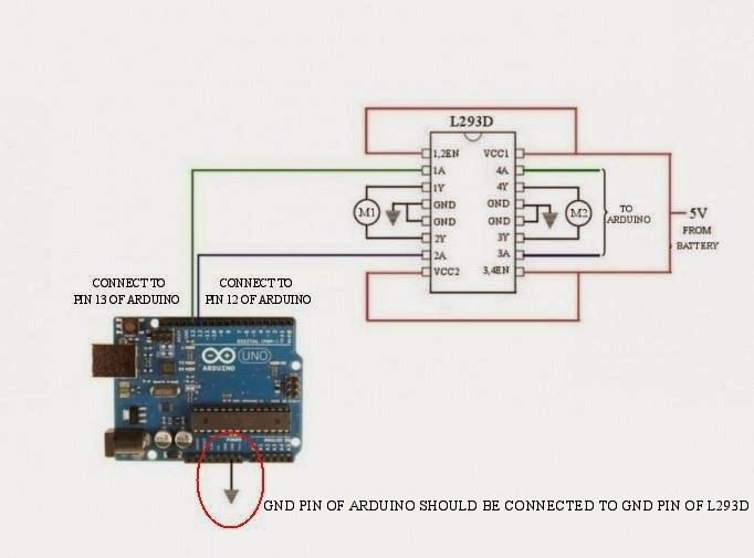 Control dc motor direction using l293d motor driver and for L293d motor driver datasheet