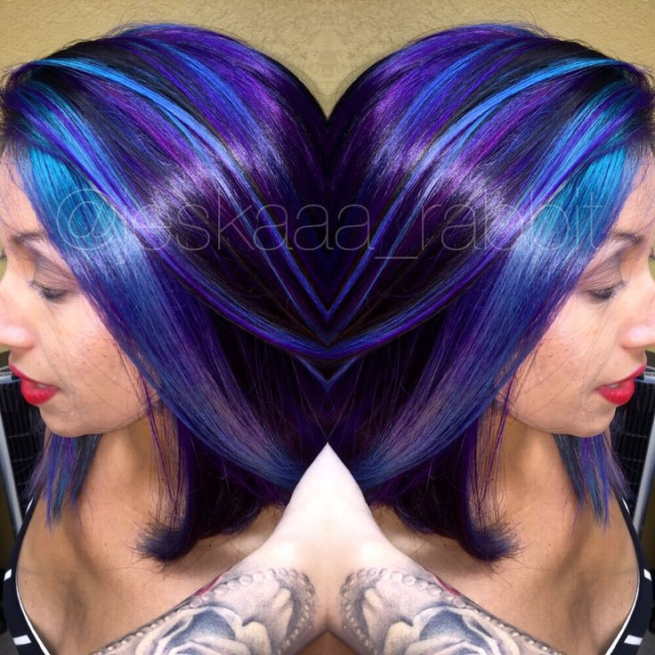 Purple joico hair colorful color hair color bright hair intensity rusk teal short hair extreme aline
