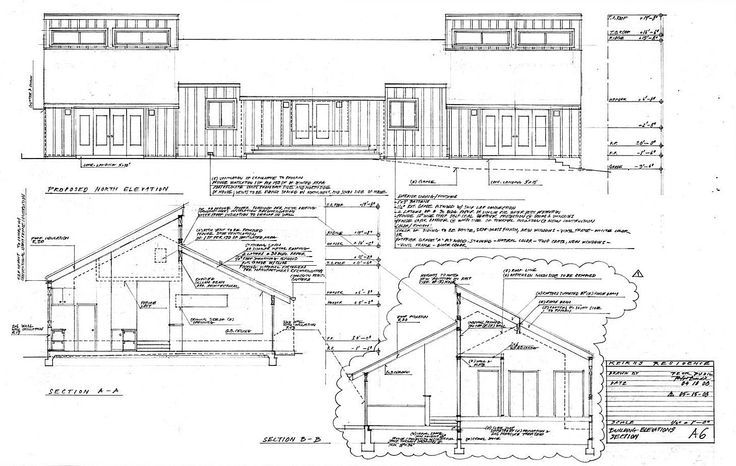 ecovastudesign / Keirns Residence / Building permit documents - North Elevation, Sections