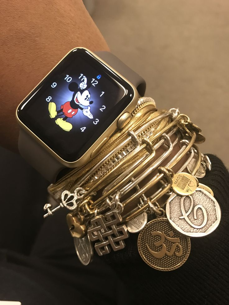 Silver and Gold Arm candy, Apple Watch, Alex and Ani, Mickey Mouse