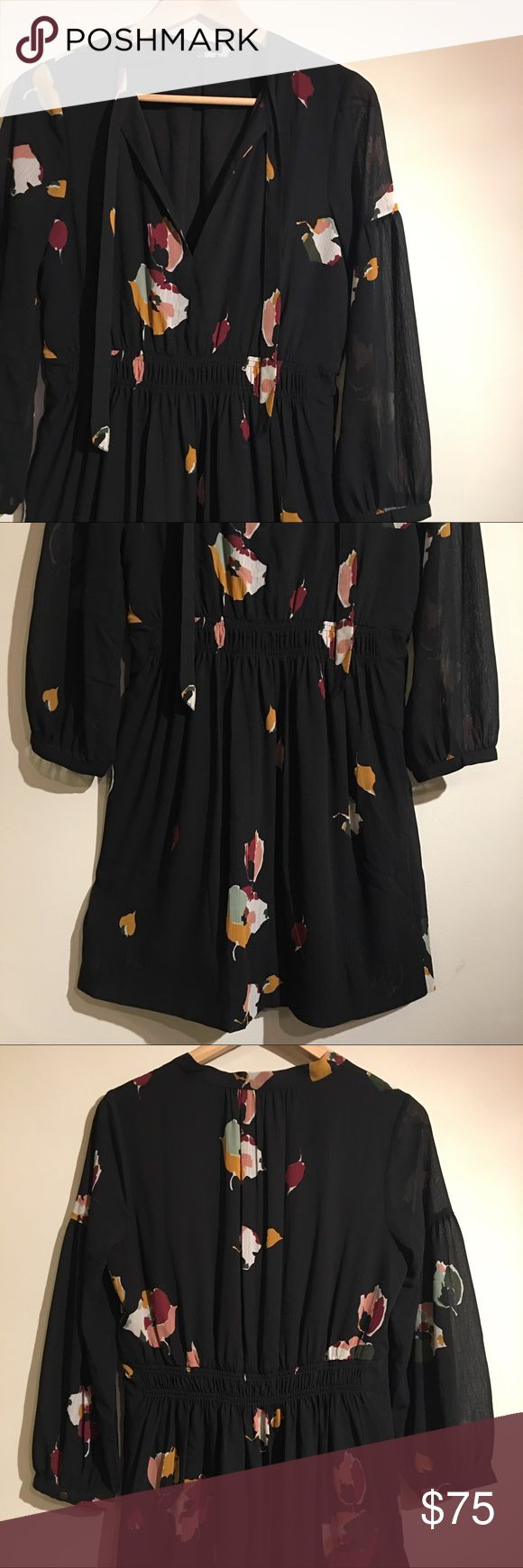 """MW Painted Floral Tie-Neck Dress Like new floral dress from Madewell in a size 2. Soft blouson sleeves, delicate stocking, and easy ties at the neck that you can keep loosely tied or hanging free altogether. Lined & waisted. Falls about 34 7/8"""" from highest point of bodice. Great all-occasion dress! No trades. Madewell Dresses"""