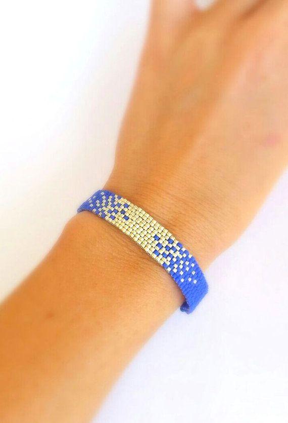 Blue Silver Beaded Adjustable Cord Peyote Bracelet