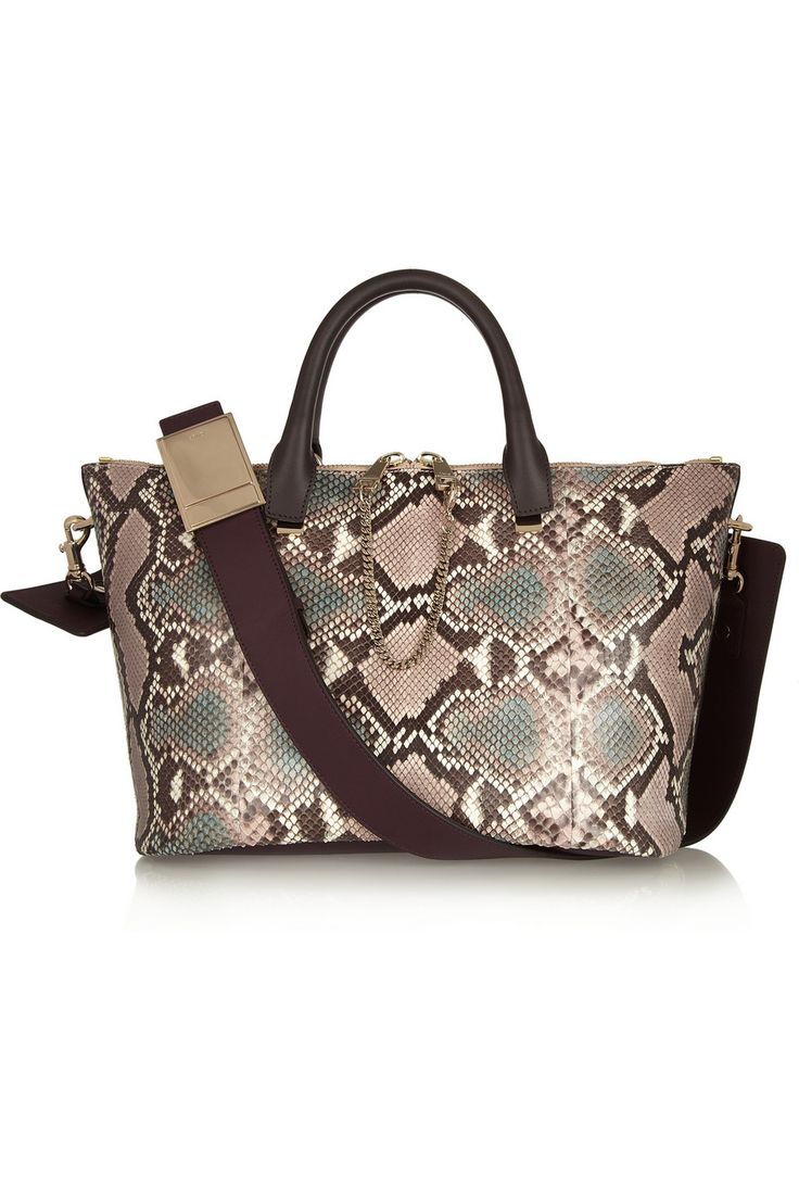 Chlo¨¦ | Baylee medium python and leather tote | NET-A-PORTER.COM ...