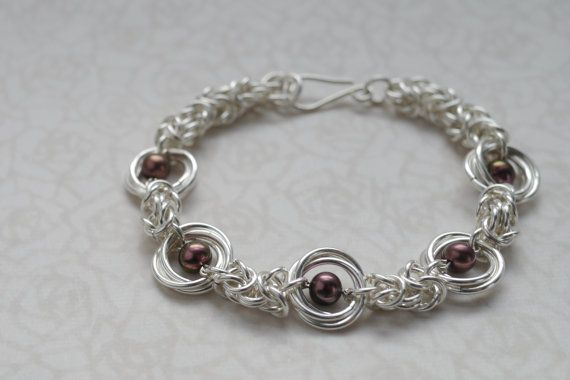 Plum Pearl and Silver Chainmaille Bracelet - Mobius and Byzantine Weaves by #Linkouture #jetteam #jewelryonetsy