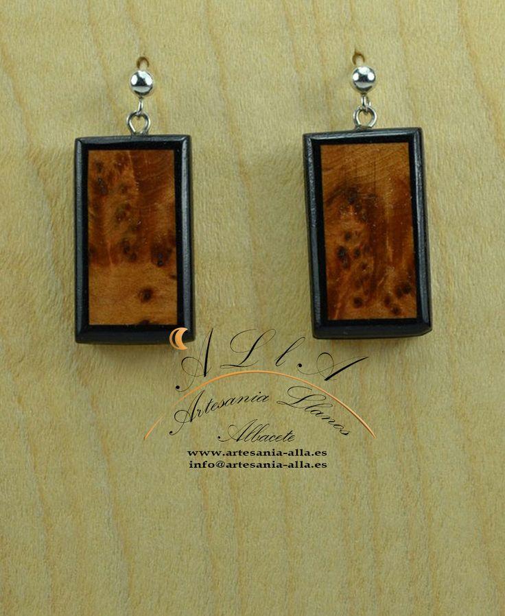 pendientes en forma rectangular corto madera de enebro y bano plata de ley