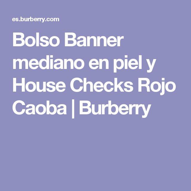 Bolso Banner mediano en piel y House Checks Rojo Caoba | Burberry