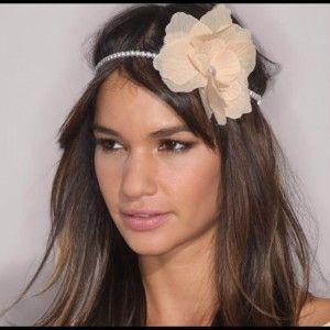 Romantic look, flower in hair, for long brown hair. Headband.