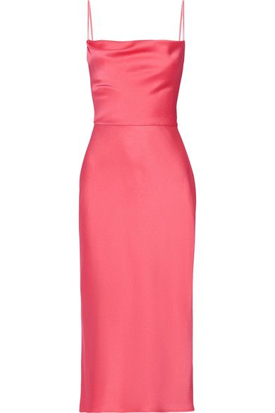 Fuchsia crepe de chine Concealed hook and zip fastening at side 73% acetate, 27% viscose; lining: 100% silk Dry clean Designer color: Neon Pink/ Pink Champagne