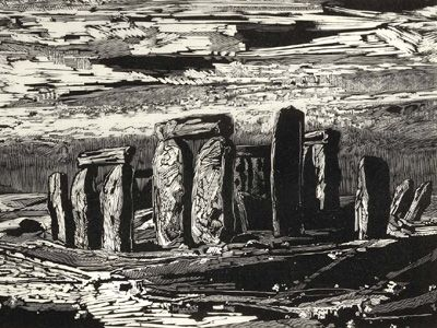 """Gertrude Hermes (1902-1983) """"Stonehenge"""", 1963. The last wood engraving cut by the artist. Signed, dated, titled and numbered 17 out of 30. Image size 225 X 355. £750"""