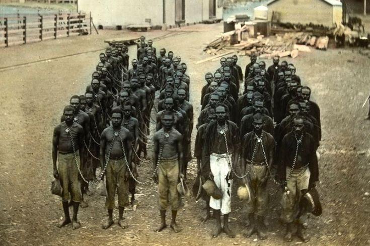 Aboriginal prisoners is chains at Wyndham, WA