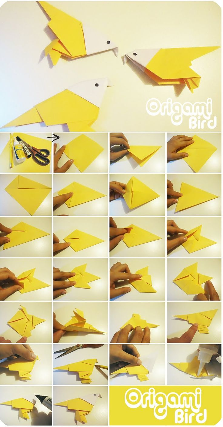 Origami bird. ,,good for making a hanging in garden and trees