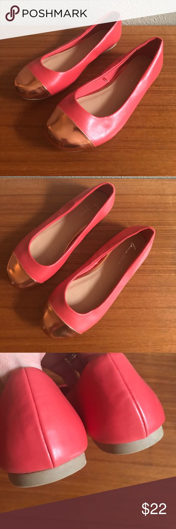 Lane Bryant pink and rose gold cap flats These are in great used condition!  9W. All man made materials Lane Bryant Shoes Flats & Loafers