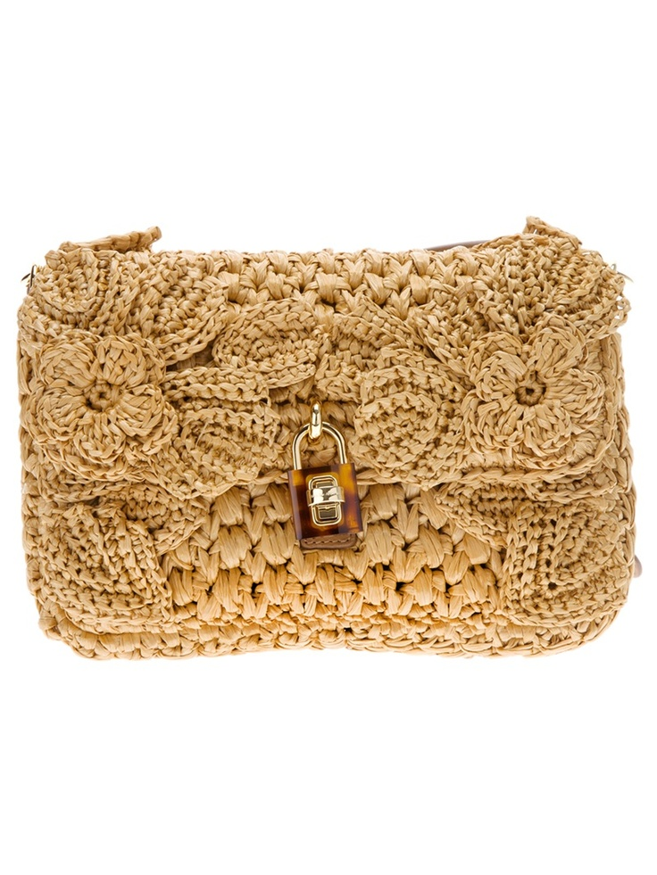 brown raffia clutch bag from Dolce  Gabbana