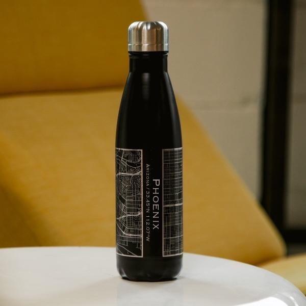 Phoenix Arizona Map Insulated Bottle In Matte Black In 2020 Insulated Bottle Stainless Steel Bottle Bottle