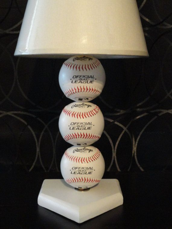 Baseball lamp with home plate base by JUNKBOXCUSTOMS on Etsy, $32.00