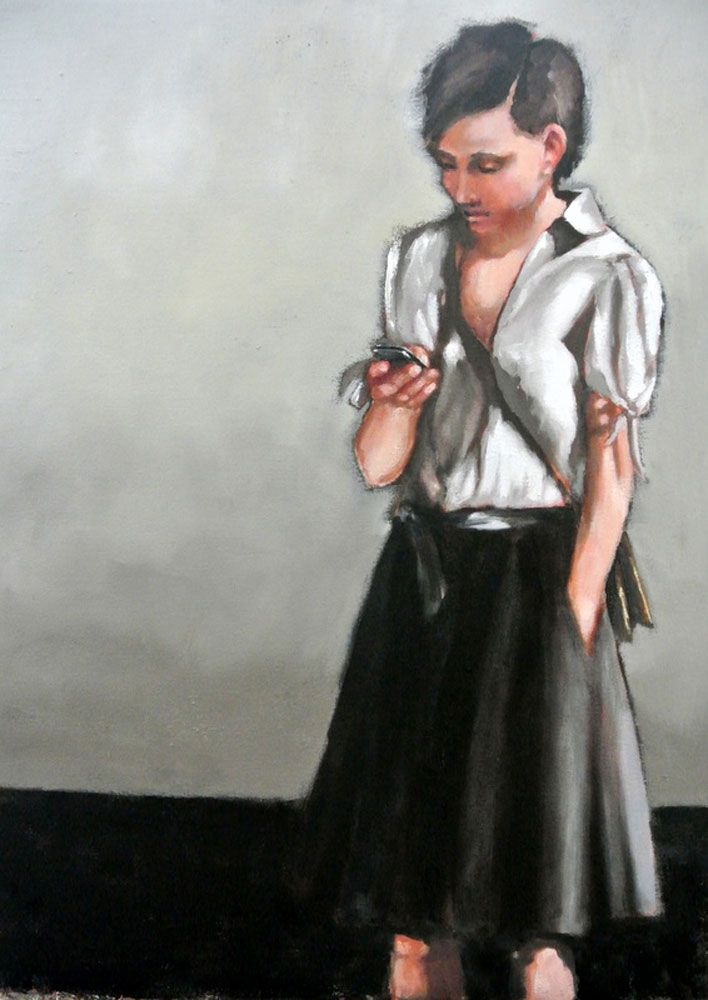Text Message, oil on canvas #painting by Mila Posthumus. Available to buy online from StateoftheART http://bit.ly/1pAvINc