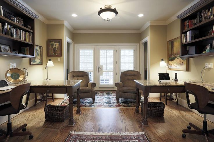 his & hers office...love the corner desks.  Would fit perfectly upstairs with the window in the middle