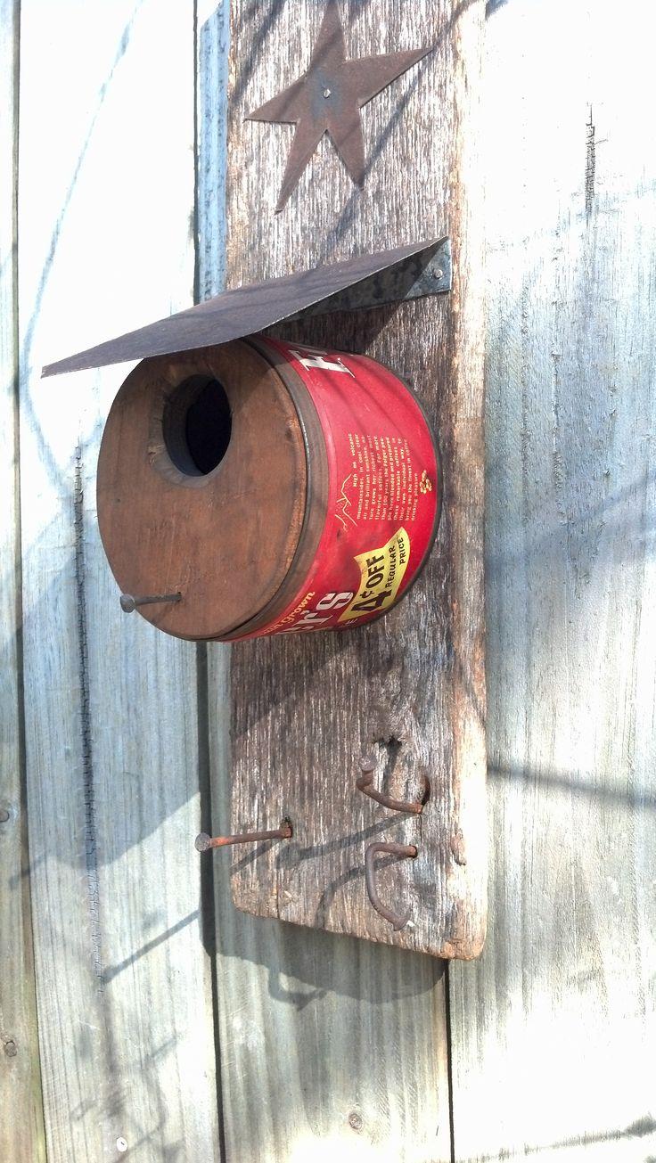 Coffee can bird house