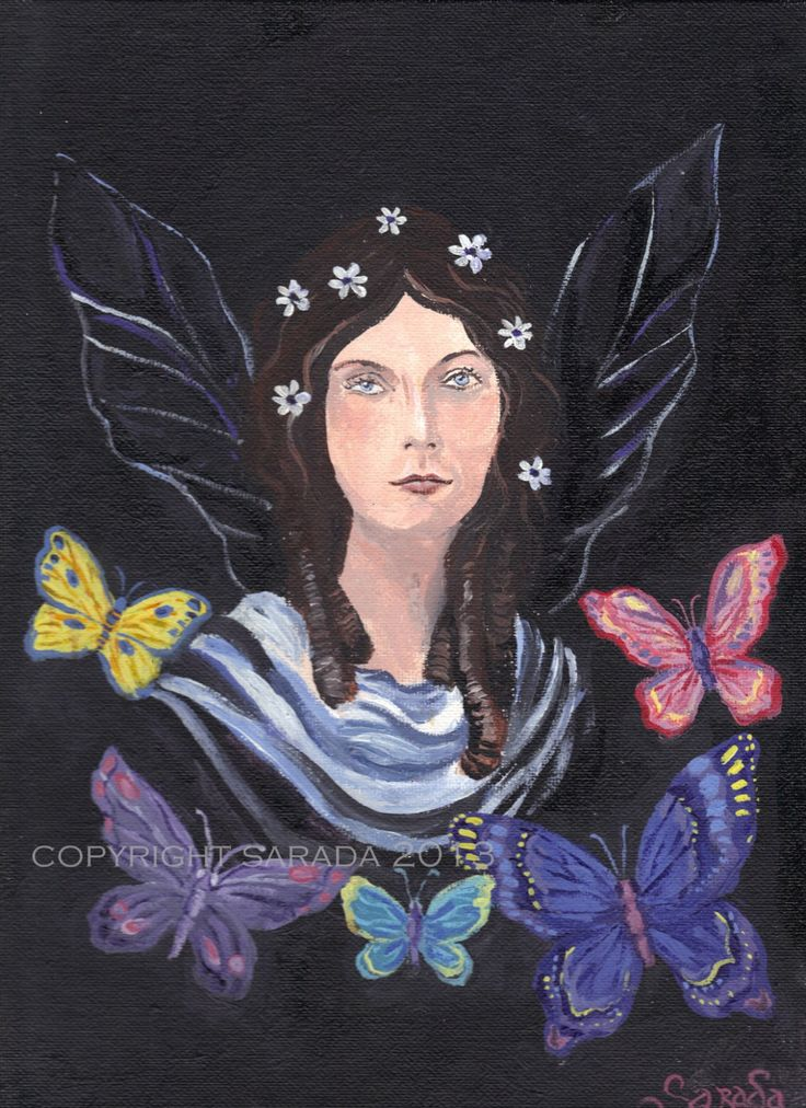 Gothic butterfly flower fairy original art 9 x 12 acrylic painting fantasy witch spring nature wicca pagan woodland magic pink purple easter by ArtBySarada on Etsy