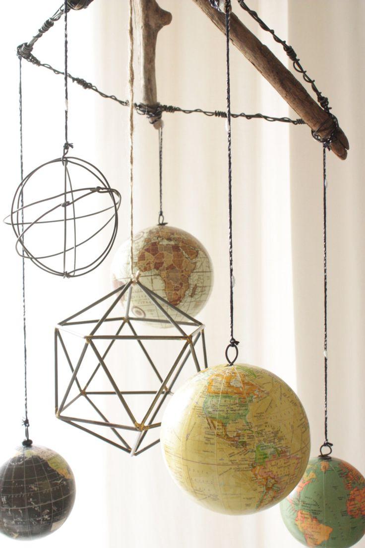 Geometric Modern/Vintage Globe Mobile // Wanderlust Nursery by femmenouveau on Etsy https://www.etsy.com/listing/267466354/geometric-modernvintage-globe-mobile