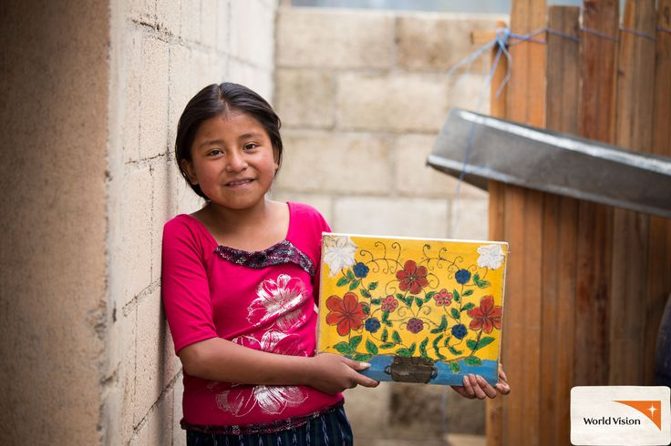 12-year-old Melissa from #Guatemala wants to be an artist when she grows up! Here's one of her beautiful artworks. Melissa is a #sponsored child, and her family received #chickens and #pigs from #WorldVision to help them earn an income! Photo by Lindsey Minerva, World Vision