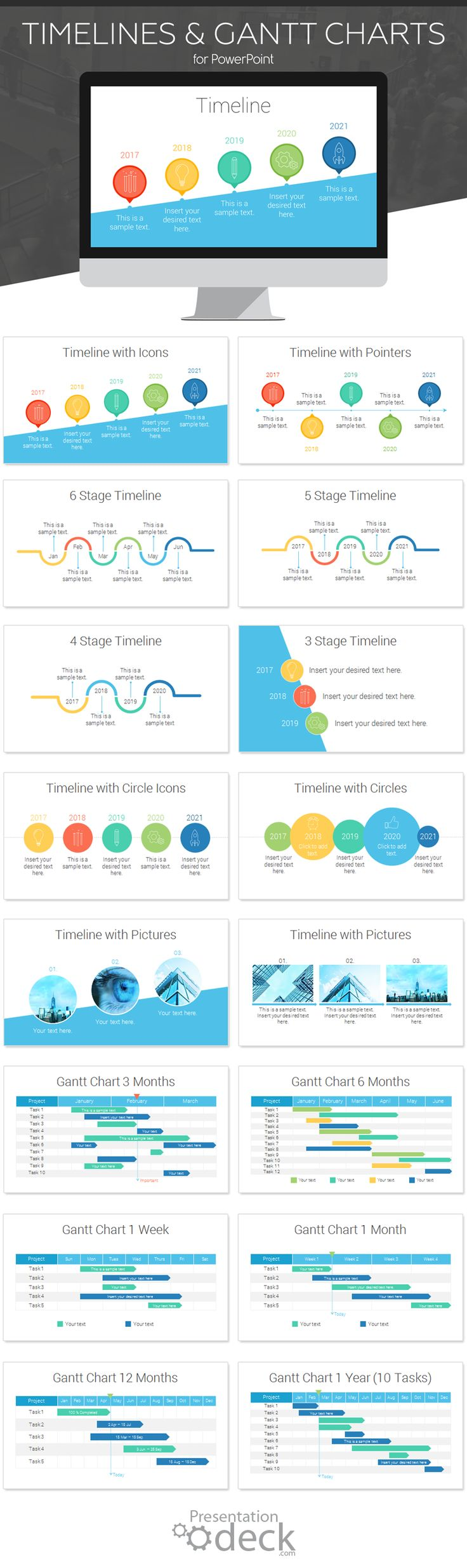 Timeline and Gantt chart toolkit for PowerPoint with 16 pre-designed slides. Create unlimited variations; you can modify shapes, text, and colors in the slide master view in PowerPoint.
