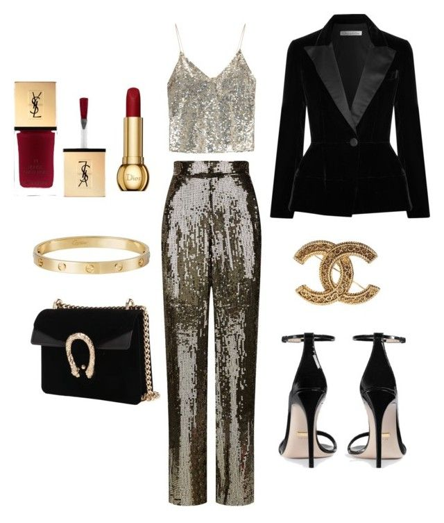 """""""Glam🌟🌟🌟🌟🌟"""" by extravagantf on Polyvore featuring Alice + Olivia, Gucci, Oscar de la Renta, Chanel, Cartier and Christian Dior"""